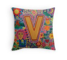 Initial V Throw Pillow
