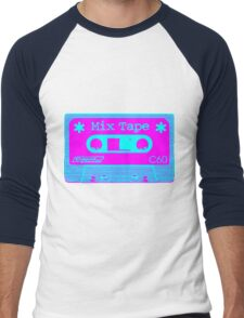 Psychedelic Mix Tape - Cyan and Magenta Men's Baseball ¾ T-Shirt