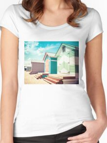 Bathing houses at Brighton Beach, Australia Women's Fitted Scoop T-Shirt
