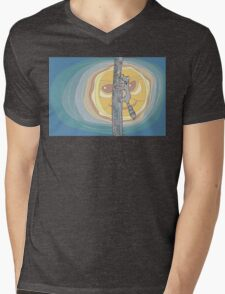 Raccoon Moon Mens V-Neck T-Shirt
