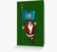 Santa Claus With Flag Of South Dakota Greeting Card