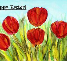 Easter Greetings - Red Tulips by Caroline  Lembke