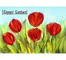 Easter Greetings - Red Tulips Photographic Print