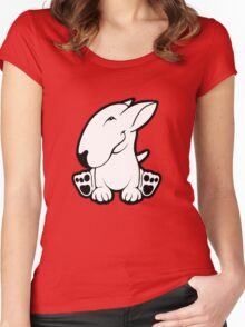 Side Sit English Bull Terrier  Women's Fitted Scoop T-Shirt