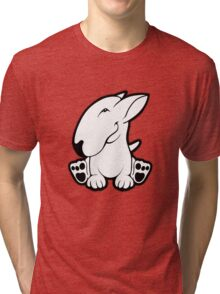 Side Sit English Bull Terrier  Tri-blend T-Shirt