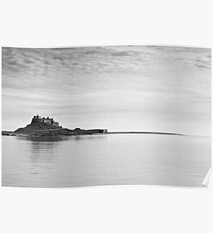 Lindisfarne Castle in Black & White Poster