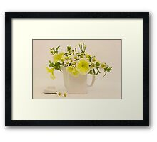 Teapot Of Yellow Petunias And Daisies  Framed Print