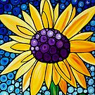 Basking In The Glory - Yellow Sunflower Blue Sky Art Print by Sharon Cummings