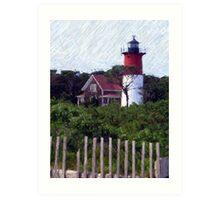Nauset Beach Lighthouse on Cape Cod Art Print