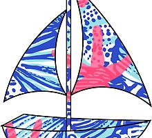 Lilly Pulitzer Inspired Sailboat She She Shells by mlr28blu
