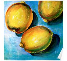 Lemons on Blue Canvas Poster