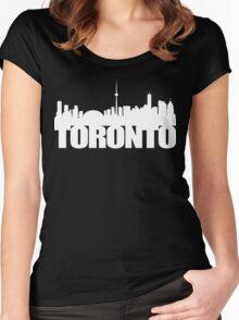 Toronto Skyline white Women's Fitted Scoop T-Shirt