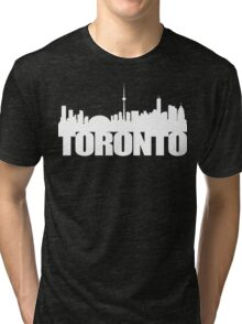 Toronto Skyline white Tri-blend T-Shirt