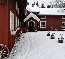 Traditional Farm House in Red by HELUA