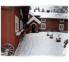 Traditional Farm House in Red Poster