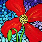 Lady In Red - Large Red Poppy Art Mosaic Print Flower by Sharon Cummings