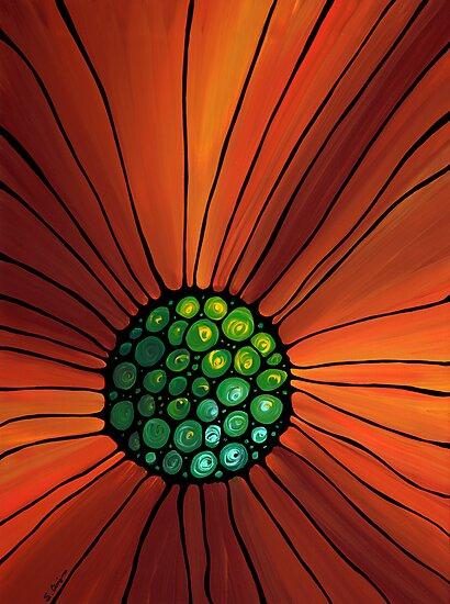 Soul Kiss 2 - Orange Flower Floral Print Abstract Art Print by Sharon Cummings