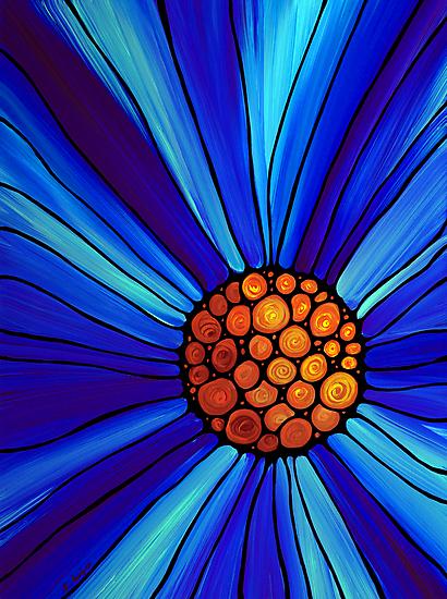 Soul Kiss 1 - Blue Flower Abstract Art Print by Sharon Cummings