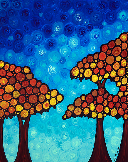 The Dreaming Trees - Abstract Landscape Trees Blue Sky Art Print by Sharon Cummings