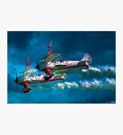 Daredevil Wingwalkers Do Headstands Above Biplanes Photographic Print