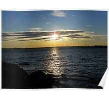 The Sun Sinking Into the Ocean - Kennebunkport, Maine Poster