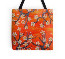 Orange Japanese Trees Tote Bag