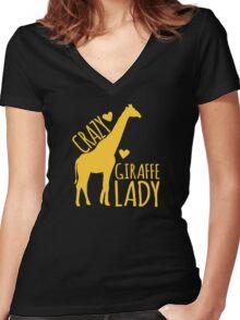 CRAZY Giraffe Lady  Women's Fitted V-Neck T-Shirt