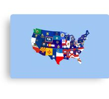 usa states flag map Canvas Print