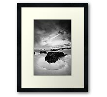 Rock Pool in Black and White Framed Print