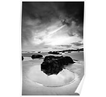 Rock Pool in Black and White Poster