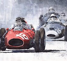 Red Car Ferrari D246 1958 Monza Phill Hill by Yuriy Shevchuk