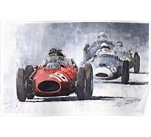 Red Car Ferrari D246 1958 Monza Phill Hill Poster