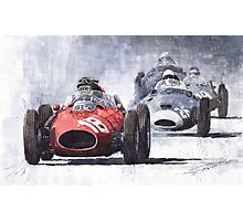 Red Car Ferrari D246 1958 Monza Phill Hill Photographic Print