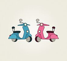 Blue and Pink Scooters by RumourHasIt