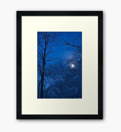 Snowstorm Moonrise Framed Print