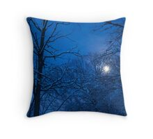 Snowstorm Moonrise Throw Pillow