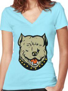 PIT BULL-23 Women's Fitted V-Neck T-Shirt