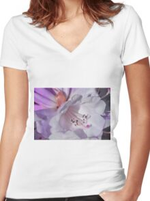 Pretty White Rhododendron with Magenta Women's Fitted V-Neck T-Shirt