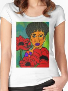 She Loves Poppies Women's Fitted Scoop T-Shirt