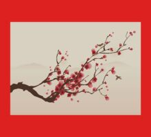 Whimsical Red Cherry Blossom Tree Baby Tee