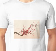 Whimsical Red Cherry Blossom Tree Unisex T-Shirt
