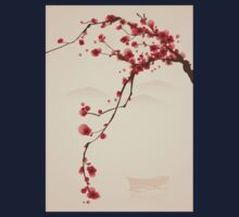 Whimsical Red Cherry Blossom Tree Kids Tee
