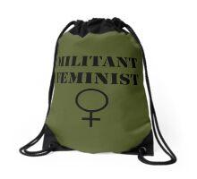 Militant Feminist Drawstring Bag