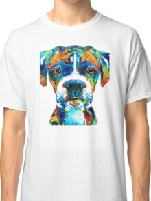 Colorful Boxer Dog Art By Sharon Cummings  Classic T-Shirt