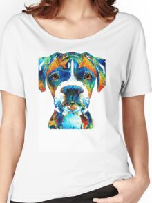 Colorful Boxer Dog Art By Sharon Cummings  Women's Relaxed Fit T-Shirt