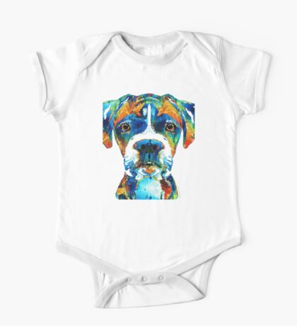 Colorful Boxer Dog Art By Sharon Cummings  One Piece - Short Sleeve