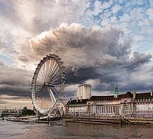Impressions of London - London Eye Dramatic Skies by Georgia Mizuleva