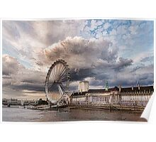 Impressions of London - London Eye Dramatic Skies Poster