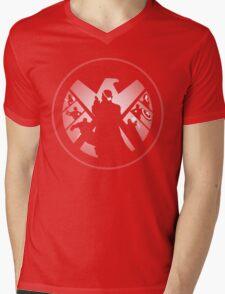 Metallic Shield Mens V-Neck T-Shirt