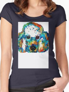 Colorful Poodle Dog Art by Sharon Cummings Women's Fitted Scoop T-Shirt